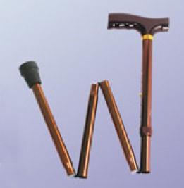 Трость инвалидная складная, регулируемая по высоте, алюминиевая, с деревянной ручкой ВОС 300